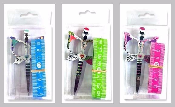 "Pink Bohin Cat Scissors Gift Set (3pc set) 3.5"" small embroidery scissors"
