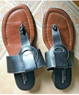 Montego Bay Club Genuine Leather Slip On Thong Sandals Slides Black Size... - $9.49
