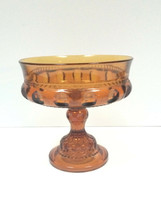 VTG Indiana Glass King Crown Thumbprint Compote Serving Candy Dish Amber... - $24.74