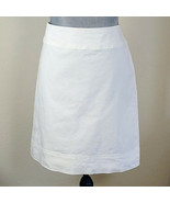 TALBOTS Womens Size 10 White Cotton Stretch Skirt Fully Lined - $12.62