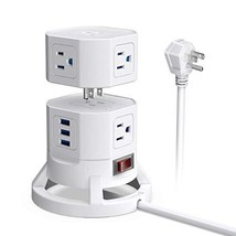BESTEK 2-Tier Stackable 8 Outlets Power Strip Tower Electric Charging Station wi