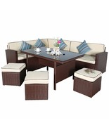 7 PC Rattan Wicker Furniture Set Dining Garden Outdoor Sectional Sofa Cu... - $679.99