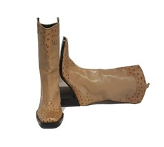 Vintage Via Spiga Women's Western Swuare Toe Pull Up Ostrich Tan Boots s... - $83.16