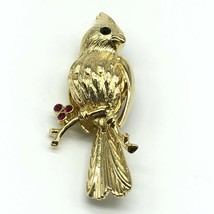 Gerrys Cardinal Bird Brooch Pin Goldtone Red Rhinestones 2.5 Inches Vintage - $24.75