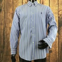 Ralph Lauren Mens Large Blue Stripe Classic Fit Long Sleeve Button Front... - $25.56