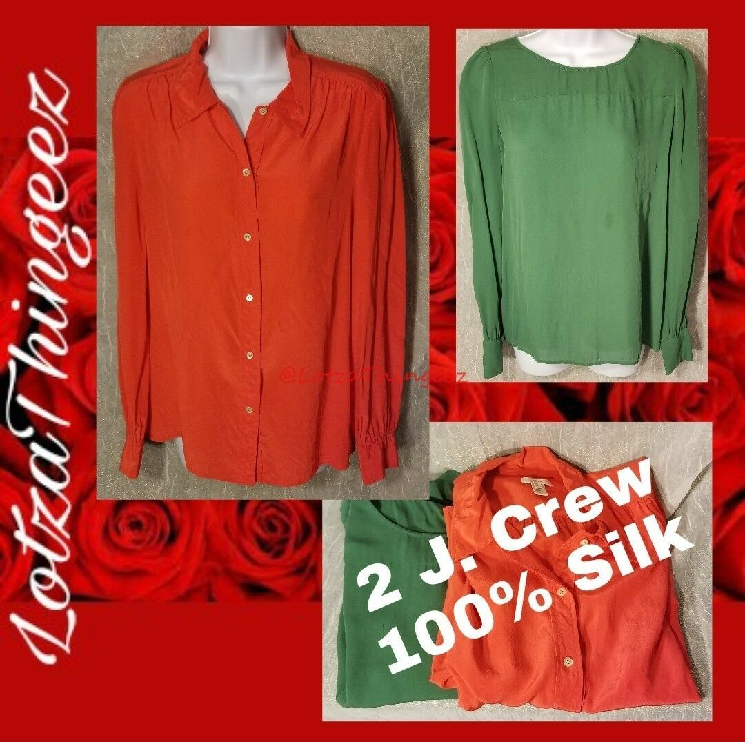 2 J. Crew Green & Bright Orange 100% Silk Blouse Tops Button Down