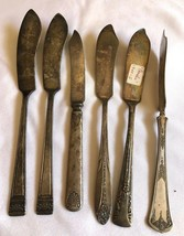 VTG Mixed Lot of 6 Silver plated Individual Spreader Knives Party Weddin... - $29.70