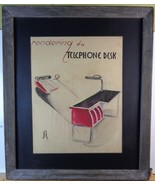 Franz Altschuler 'Telephone Desk' illustration pastel, signed MCM dated - $88.11