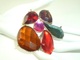 Vtg Flashy Brooch Pin Faceted Plastic Gold Tone Big Colorful Gaudy State... - $8.90