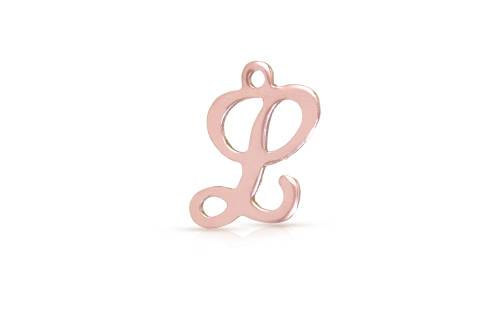 Primary image for Charm, Script Alphabet L Charm, 14Kt Rose Gold Filled, 10x8mm, 2Pcs (8048)/1