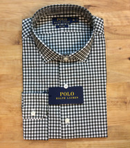 $145 Polo Ralph Lauren Gingham Classic Fit Button-Down Shirt, Olive/White, S. - $54.44
