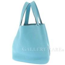 HERMES Picotin Lock GM Taurillon Clemence Blue Du Nord Handbag #D Authentic - $3,830.15