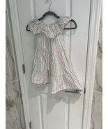 Crew Cut Girls White With Multicolored Stripes Dress Size 5 Ruffle Collar - $12.68