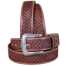 U-8-32 32 Inch M&F Western Nocona Leather Mens Belt Tooled Square Weave Copper - $59.95