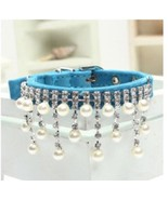 New Blue Pearl and Rhinestone Diva Dog Collar Bling for Dog Pig Cat Duck... - $14.85