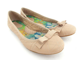 BORN Size 7.5 Blush Quilted Ballet Flats Shoes w/ grosgrain Bow 7 1/2 - $39.00