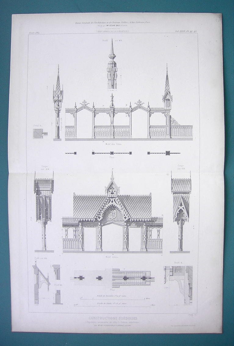 Primary image for ARCHITECTURE PRINT 1869 - SWEEDEN Wooden Architecture at Paris 1867 Exposition