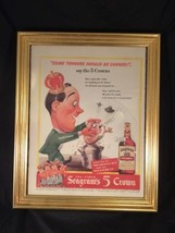 Vintage 1940's WWII AD SEAGRAM'S 5 FIVE CROWN WHISKEY framed some tongue... - $15.00