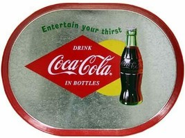 "Vintage Coca Cola Oval Coke Tray Kitchen Home Office Retro Decor 15""x11"" - $21.79"