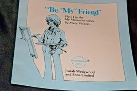 """1981 """"Be My Friend""""   Wedgewood by Mary Vickers AA20-2301 Vintage Commemorative  image 4"""