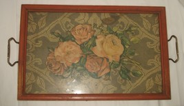 Vintage Antique Wooden-Glass-Brass Shabby Paper & Fabric Distressed Serv... - $28.71