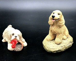 2 Charmstone Earl Sherwan Sandicast Cocker Spaniel Figurines  Handpainte... - $19.99