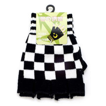 NEW BLACK ( WHITE PINK PURPLE RED ) CHECKERED PUNK ROCK FINGERLESS GLOVE... - $10.60 CAD