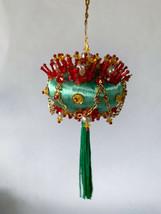 Vintage Handmade Satin Christmas Ornament Ellipse Pearl Beaded Sequins B... - $20.00