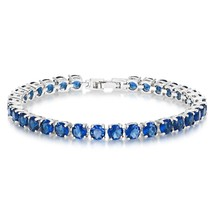 Simulated Sapphire Tennis Bracelet 5mm Round Cut Silver over Brass 7 inch - $51.94