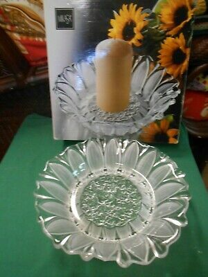 "NIB- MIKASA ""Sunflower Frost"" ...CANDLE HOLDER  11"""