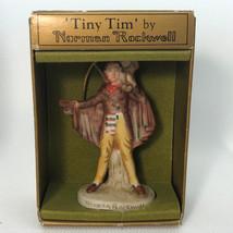 NORMAN ROCKWELL FIGURINE 1979 vintage porcelain ornament Tiny Tim Gorham... - $24.75