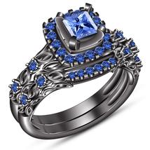 Pure 925 Silver 10k Black Gold Finish Princess Cut Blue Sapphire Bridal Ring Set - $97.89