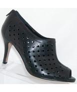 Vaneli black leather perforated rear zip peep toe ankle bootie heels 7.5M - $35.21