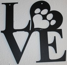 Love with Paw Print in Heart Metal Wall Art Flat Black Finish - $29.00+
