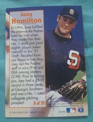 1995 Fleer Rookie Sensations #8 Joey Hamilton San Diego Padres