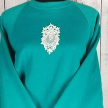 Sturdy Sweats By Lee Teal Textured Sweatshirt Large Vintage Lace Applique image 8