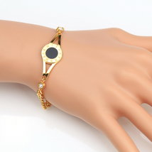UE-Gold Tone Designer Bracelet With Faux Onyx Inlay & Swarovski Style Cr... - $19.99