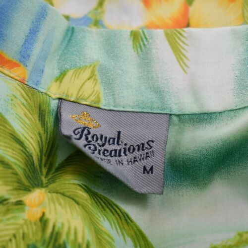 Royal Creations Hibiscus Medium Waves Palm Trees Hawaiian Aloha Shirt