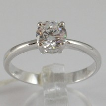 White gold ring 750 18k, solitaire cubic zirconia ct 0.77, made in Italy image 1