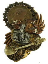 VINTAGE RE-PURPOSE MIXED METAL BRONZE GOLD TONE ROMAN MEDALLION BIG PIN ... - $101.24