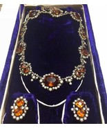 Victorian Riviere Sterling silver BIG Golden Topaz Paste necklace earrin... - $3,059.00