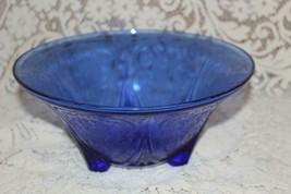 "Hazel Atlas ROYAL LACE 10"" Tri 3 Footed Straight Edge Center Bowl Cobalt... - $49.50"