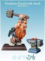 Spellcrow 28mm Fantasy Miniatures:  Northern Dwarf with Anvil
