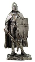 "Crusader Knight Statue Silver Finishing Cold Cast Resin Statue 7"" (8711) - $20.78"