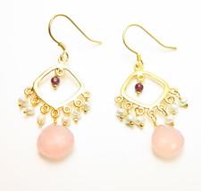Garnet Rose Quartz Freshwater Pearl Drop Dangle Earrings - $19.99