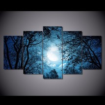 5 Pcs Tree Silhouettes At Night Home Decor Wall Picture Printed Canvas P... - $45.99+