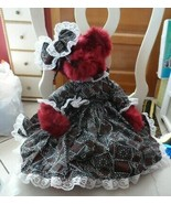 "Burgundy 19"" plush bear wearing print ruffle dress by Hug & Luv - $18.00"