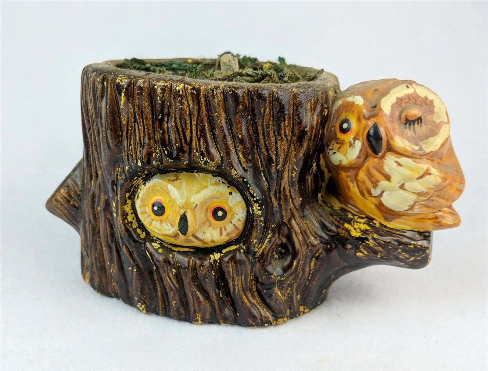 Pair Of Owls On Tree Stump Figurine Collectible Owl
