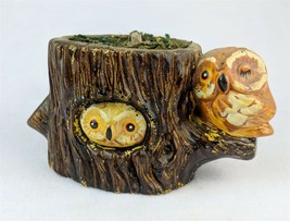 Pair Of Owls On Tree Stump Figurine Collectible Owl - $21.03