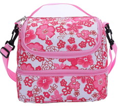 MIER Double Decker Insulated Lunch Box Pink Soft Cooler Bag Thermal Lunc... - $24.99